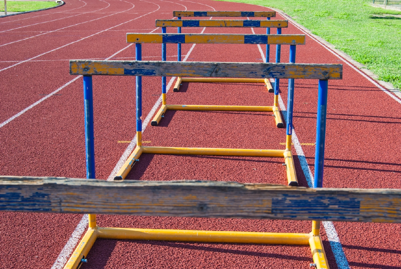 Hurdles lined up on a track