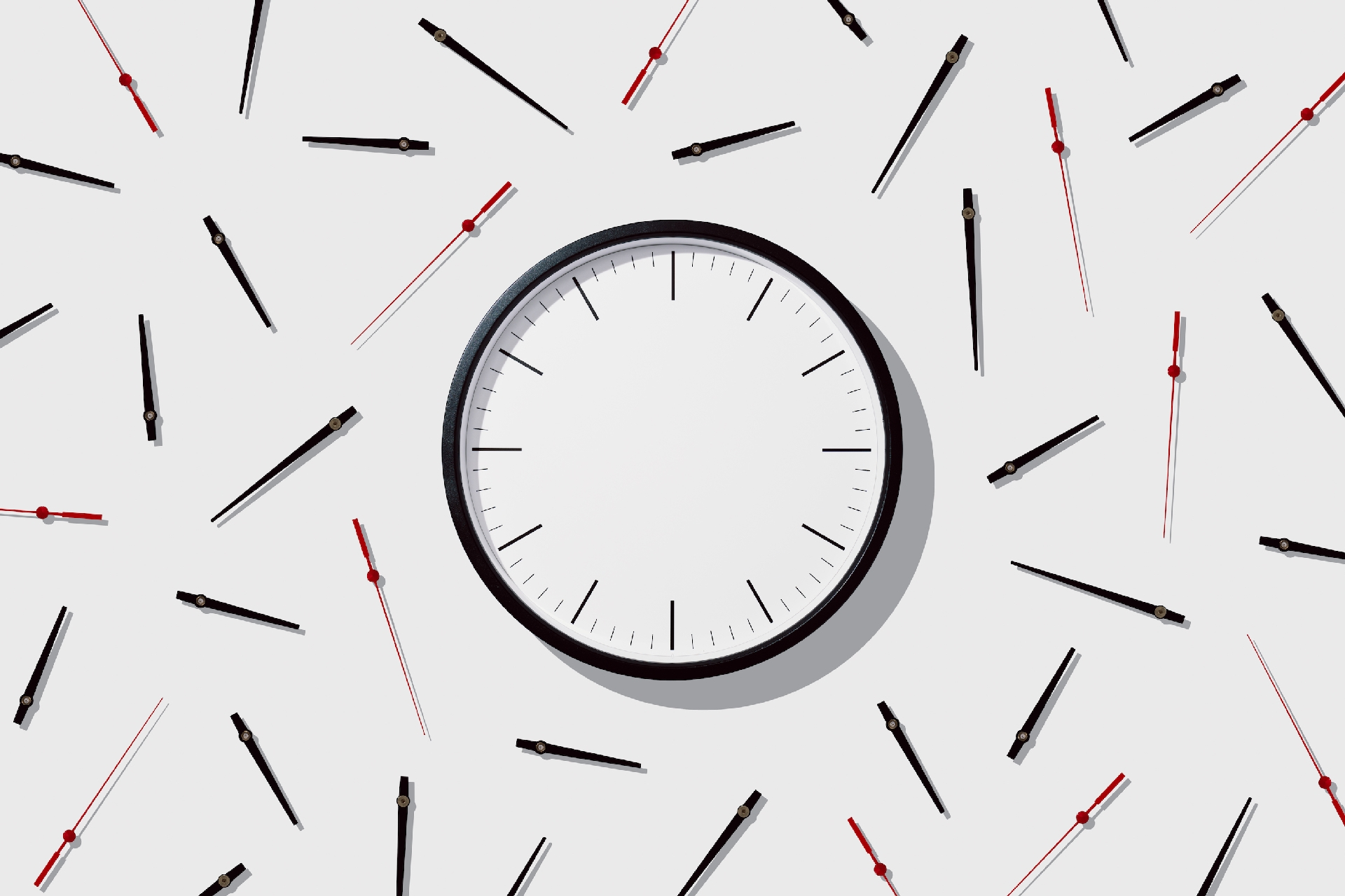 Photo of blank clock face with separated hands