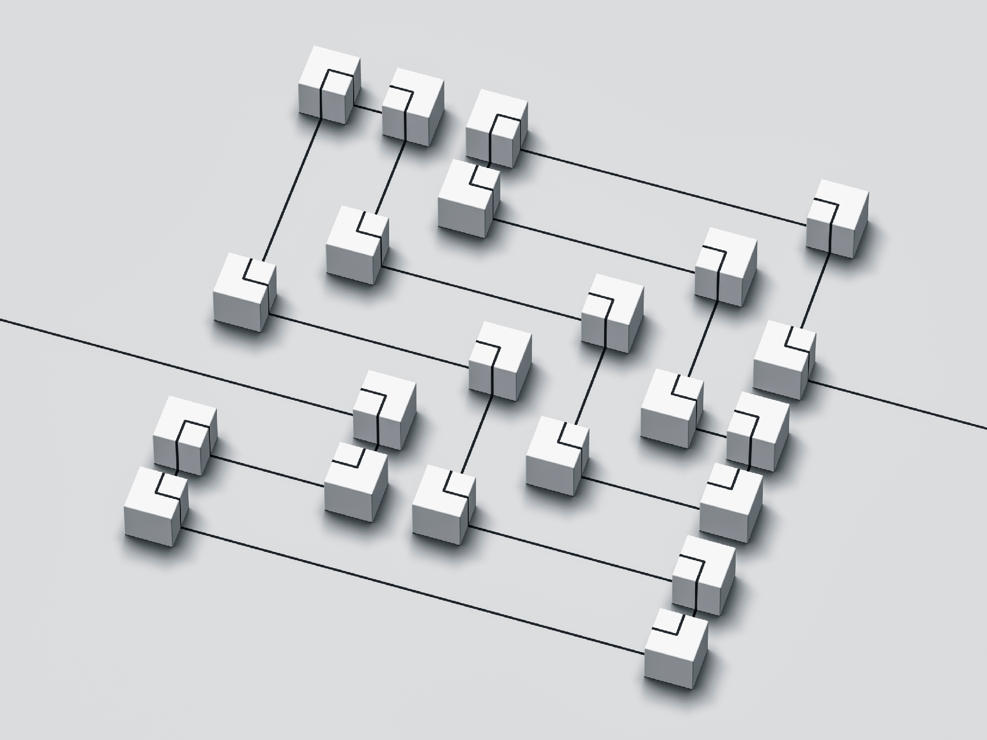 Gray image of white and black connected boxes