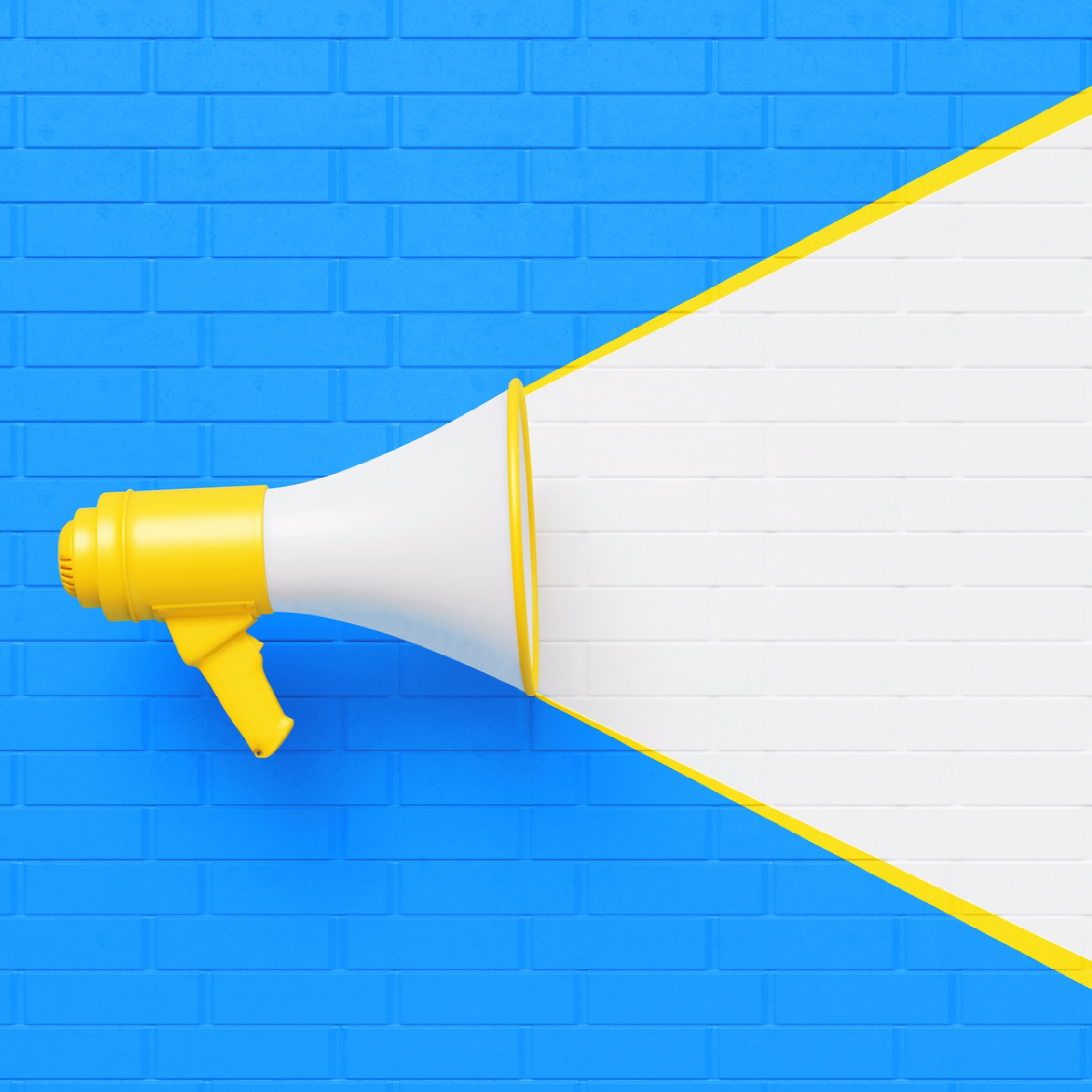 Photo of megaphone on a blue background