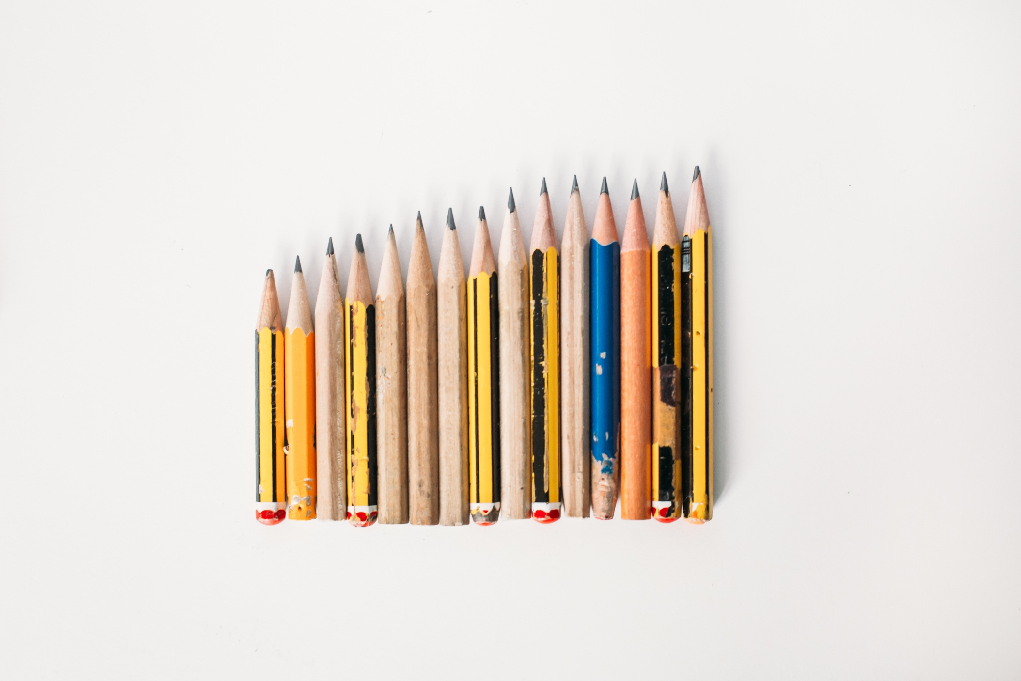 Photo of pencils lined up