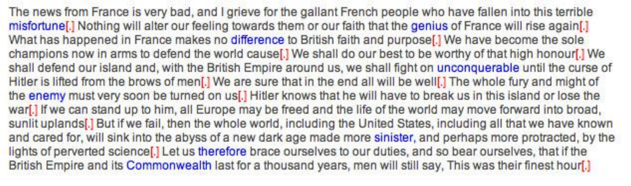 Paragraph of Churchill speech with words of three or more syllables are in blue
