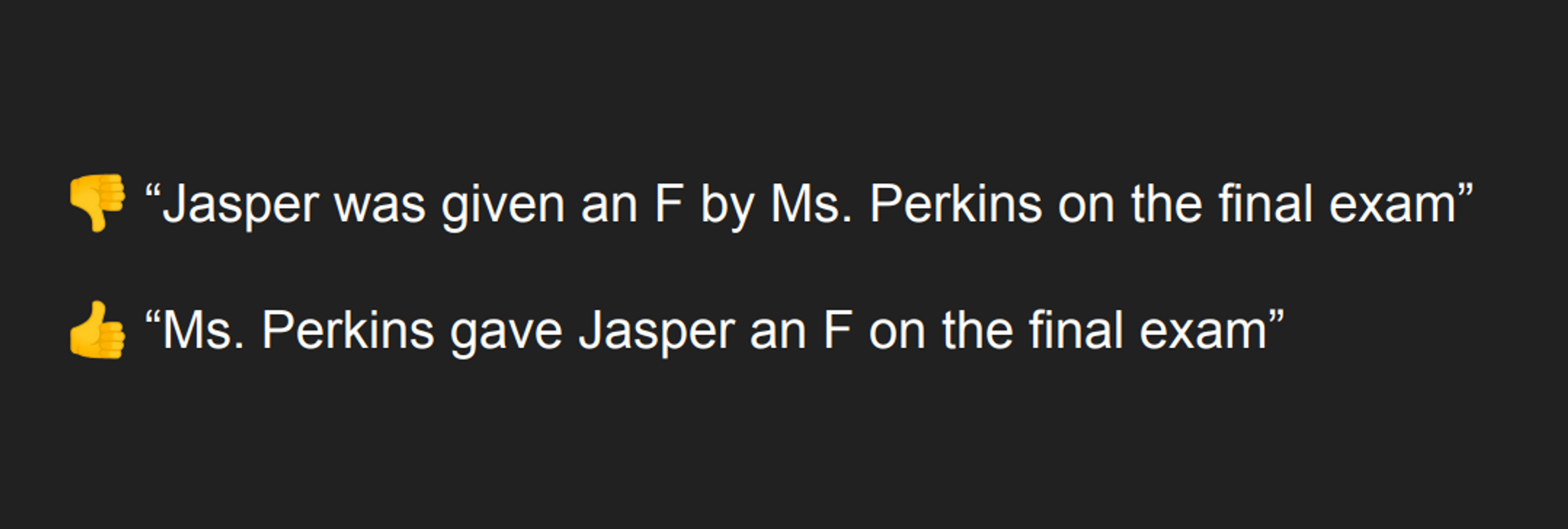 "👎 ""Jasper was given an F by Ms. Perkins on the final exam"" 👍 ""Ms. Perkins gave Jasper an F on the final exam"""