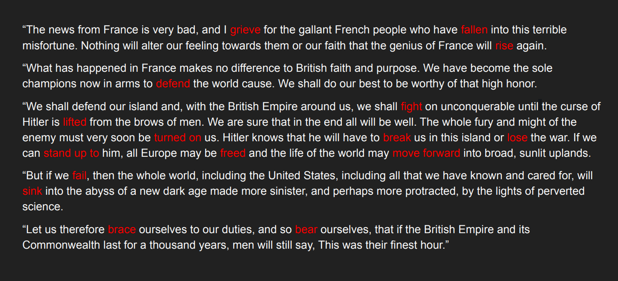 Paragraph of a Churchill speech with verbs in red font.